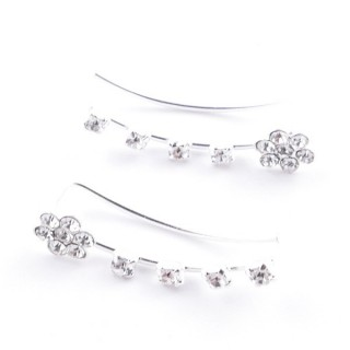 55384 STERLING SILVER AND GLASS STONE CLIMBER EARRINGS 29 X 5 MM