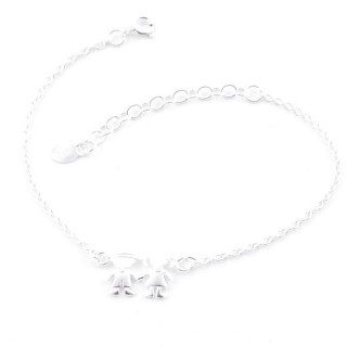 52084 SILVER 925 15 + 4 CM BRACLET WITH BOY & GIRL CHARM