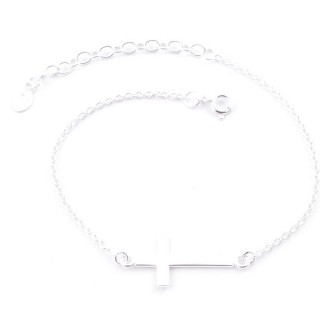 52008 SILVER 925 15 + 4 CM BRACLET WITH CROSS CHARM