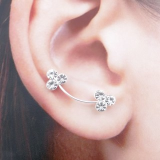52071 STERLING SILVER AND GLASS STONE CLIMBER EARRINGS 22 X 6 MM