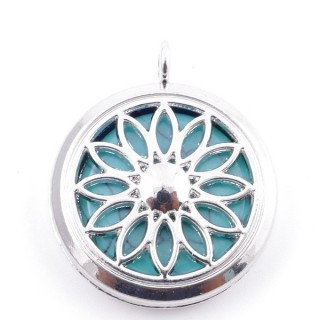 3830603 METAL FASHION JEWELERY 30 MM LOCKET WITH TURQUOISE STONE