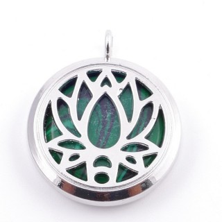 3830506 METAL FASHION JEWELERY 30 MM LOCKET WITH MALACHITE STONE