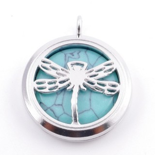 3830303 METAL FASHION JEWELERY 30 MM LOCKET WITH TURQUOISE STONE