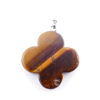 3864609 FLOWER SHAPED 23 MM STONE PENDANT IN TIGER'S EYE