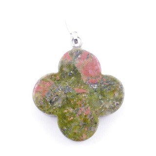 3864620 FLOWER SHAPED 23 MM STONE PENDANT IN UNAKITE