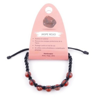 3836315 SLIPKNOT BRACELET WITH 8 MM RED JASPER STONE BEADS