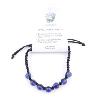 3836351 SLIPKNOT BRACELET WITH 8 MM RUTILE BLUE QUARTZ STONE BEADS