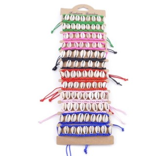 38689 PACK OF 12 SHELL AND CORD WITH SLIPKNOT BRACELET IN VARIOUS COLORS