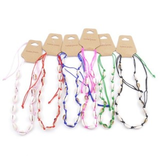 38692 PACK OF 6 SHELL AND CORD WITH SLIPKNOT NECKLACES IN VARIOUS COLORS