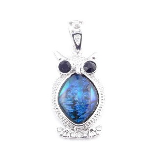 38156-01 FASHION JEWELRY METAL PENDANT WITH BLUE ABALONE 32 X 17 MM