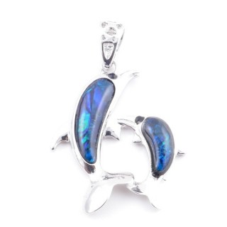 38156-02 FASHION JEWELRY METAL PENDANT WITH BLUE ABALONE 35 X 29 MM