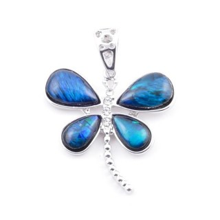 38156-04 FASHION JEWELRY METAL PENDANT WITH BLUE ABALONE 29 X 28 MM