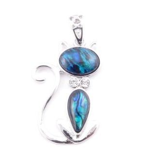 38156-05 FASHION JEWELRY METAL PENDANT WITH BLUE ABALONE 38 X 25 MM