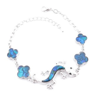 38155-01 FASHION JEWELRY 22 CM LONG METAL BRACELET WITH BLUE ABALONE