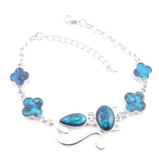 38155-02 FASHION JEWELRY 22 CM LONG METAL BRACELET WITH BLUE ABALONE