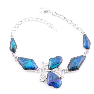 38155-03 FASHION JEWELRY 22 CM LONG METAL BRACELET WITH BLUE ABALONE