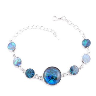 38155-04 FASHION JEWELRY 22 CM LONG METAL BRACELET WITH BLUE ABALONE