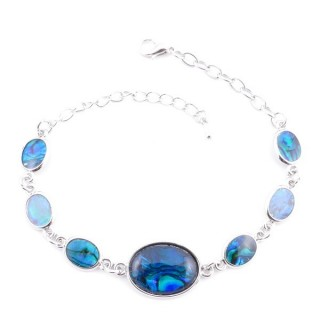 38155-05 FASHION JEWELRY 22 CM LONG METAL BRACELET WITH BLUE ABALONE