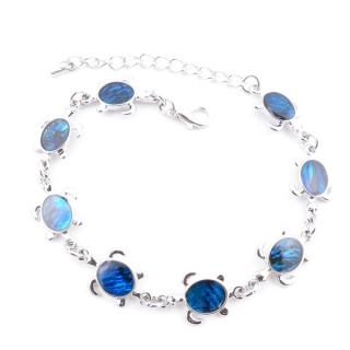 38153-01 FASHION JEWELRY 22 CM LONG METAL BRACELET WITH BLUE ABALONE