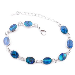 38153-02 FASHION JEWELRY 22 CM LONG METAL BRACELET WITH BLUE ABALONE
