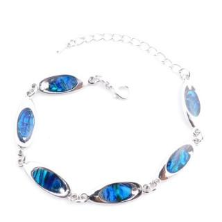 38153-03 FASHION JEWELRY 22 CM LONG METAL BRACELET WITH BLUE ABALONE