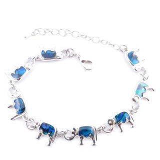 38153-04 FASHION JEWELRY 22 CM LONG METAL BRACELET WITH BLUE ABALONE
