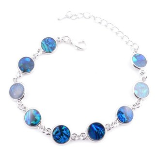 38153-05 FASHION JEWELRY 22 CM LONG METAL BRACELET WITH BLUE ABALONE