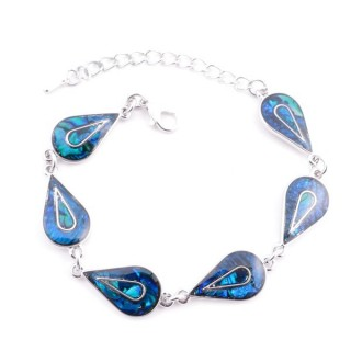 38153-06 FASHION JEWELRY 22 CM LONG METAL BRACELET WITH BLUE ABALONE