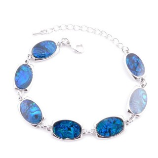 38153-08 FASHION JEWELRY 22 CM LONG METAL BRACELET WITH BLUE ABALONE