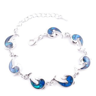38153-09 FASHION JEWELRY 22 CM LONG METAL BRACELET WITH BLUE ABALONE