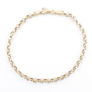 36491 ITALIAN MADE STERLING SILVER GOLD COLOUR BRACELET 3 MM X 18 CM