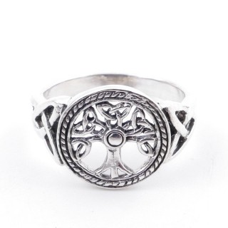 50222-19 SILVER RING WITH 13 MM TREE OF LIFE. SIZE 19
