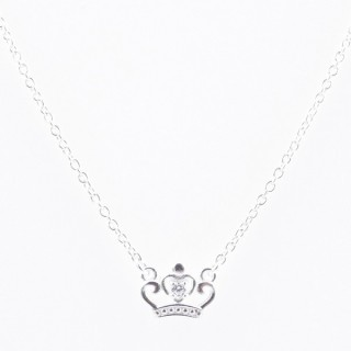 52090-04 STERLING SILVER 40 + 5 CM LONG NECKLACE WITH CROWN CHARM