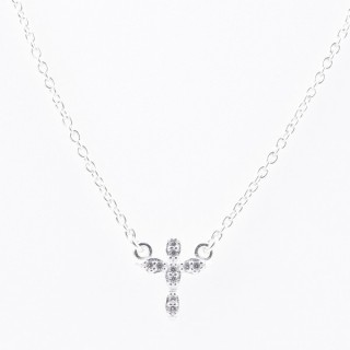 52090-05 STERLING SILVER 40 + 5 CM LONG NECKLACE WITH CROSS CHARM