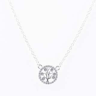 52090-06 STERLING SILVER 40 + 5 CM LONG NECKLACE WITH TREE OF LIFE CHARM