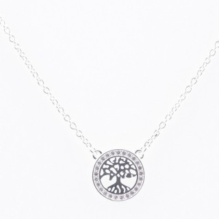 52090-07 STERLING SILVER 40 + 5 CM LONG NECKLACE WITH TREE OF LIFE CHARM