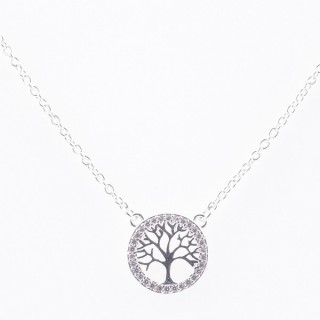 52090-08 STERLING SILVER 40 + 5 CM LONG NECKLACE WITH TREE OF LIFE CHARM