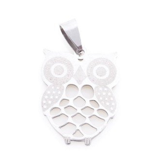 36162-58 OWL SHAPED 27 X 21 MM STAINLESS STEEL PENDANT