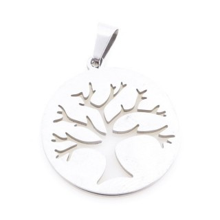 36162-60 STAINLESS STEEL 25 MM ROUND TREE OF LIFE PENDANT