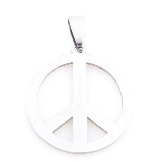 36162-66 STAINLESS STEEL PEDNANT WITH PEACE SYMBOL. DIAMETER: 27 MM