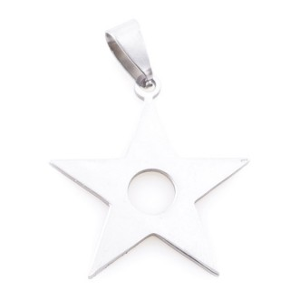 36162-72 STAR SHAPED 29 X 27 MM STAINLESS STEEL PENDANT