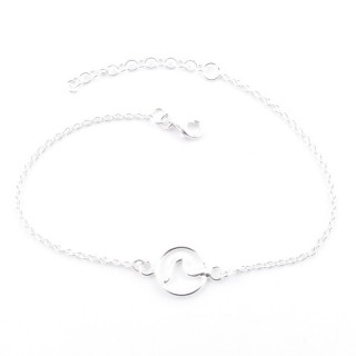 55436 STERLING SILVER BRACELET WITH 10 MM WAVE CHARM