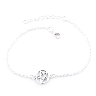 55437 STERLING SILVER BRACELET WITH 10 MM PENTAGRAM CHARM