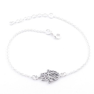55439 STERLING SILVER BRACELET WITH 20 X 9 MM HAMSA CHARM