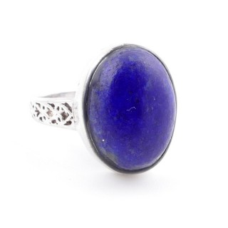 58205-02 ADJUSTABLE 17 X 13 MM SILVER RING WITH STONE IN LAPIS LAZULI