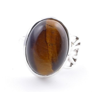 58209-11 ADJUSTABLE SILVER 18 X 14 MM RING WITH STONE IN OJO DE TIGRE