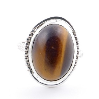 58208-11 ADJUSTABLE 20 X 16 MM SILVER RING WITH STONE IN TIGER'S EYE