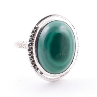 58208-10 ADJUSTABLE 20 X 16 MM SILVER RING WITH STONE IN MALACHITE