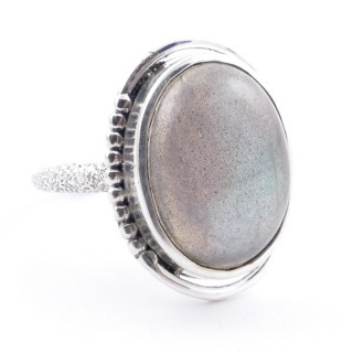 58208-08 ADJUSTABLE 20 X 16 MM SILVER RING WITH STONE IN LABRADORITE