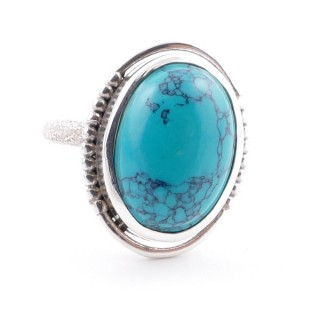 58208-07 ADJUSTABLE 20 X 16 MM SILVER RING WITH STONE IN TURQUOISE